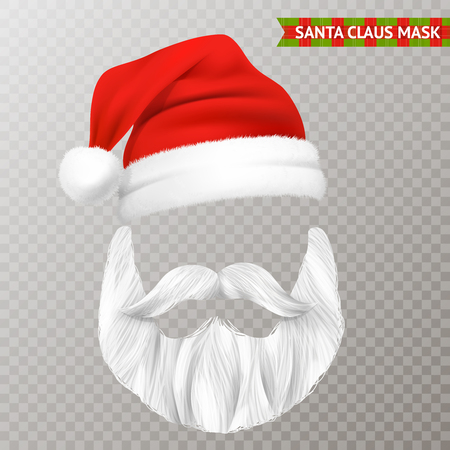 Realistic Santa Claus transparent Christmas mask isolated vector illustration