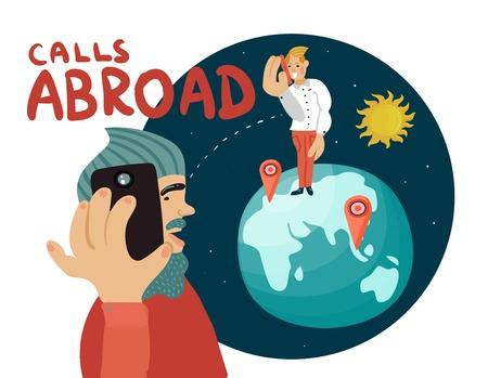 Llama a la composición en el extranjero con la comunicación entre los hombres por teléfono móvil, planeta tierra, sol en la ilustración de vector de espacio Foto de archivo - 88540348