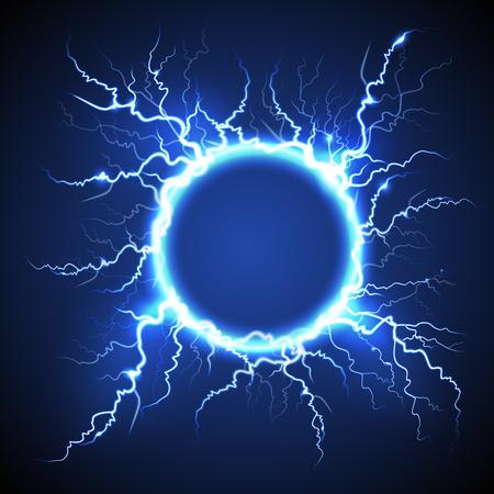 Realistisches Bild des atmosphärischen Phänomens des leuchtenden elektrischen Kreisblitzes auf blauer dekorativer Hintergrundvektorillustration des dunklen Nachthimmels