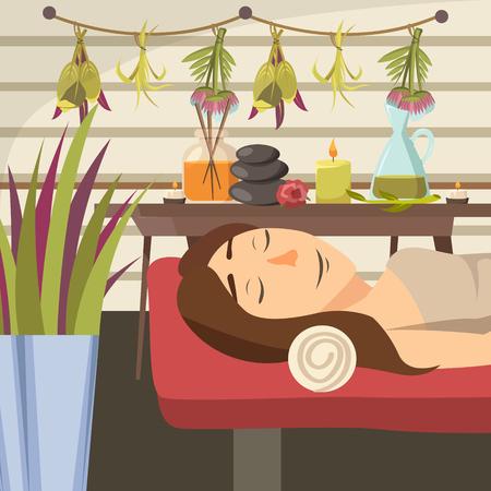 천연 미용학 뷰티 샵 플랫 벡터 일러스트 레이션에 마사지 소파에 누워있는 젊은 여자와 컴포지션 색깔