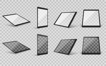 다른 각도 벡터 일러스트와 함께 현대 가제트 화면 프레임의 이미지와 투명 한 배경에 설정하는 현실적인 타블렛 일러스트