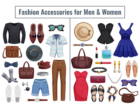 les hommes et les accessoires de couleur et des accessoires de femmes isolé ensemble en split avec deux parties pour les hommes et les femmes illustration vectorielle