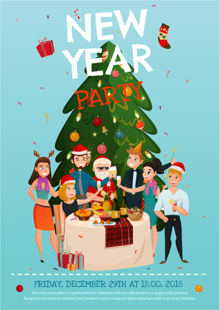 christmas drink: New year party poster with people around festive table under christmas tree on blue background vector illustration