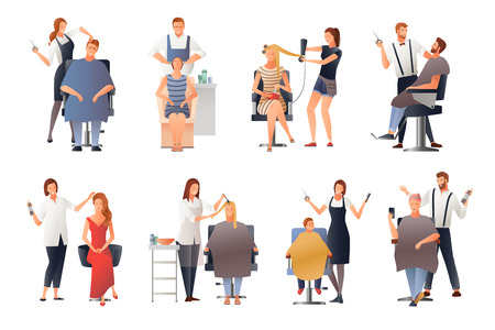 Hairdresser stylist barber gradient flat people images collection of isolated doodle characters of hairdressing experts with clients vector illustration Illustration