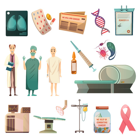 치명적인 암 종양학 외과 의사 대머리 환자 및 mri 스캐너 격리 된 벡터 일러스트와 함께 설정하는 의료 직교 아이콘 일러스트