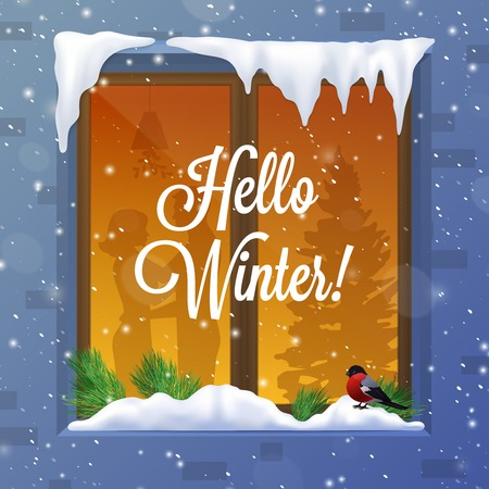 Winter and snow with window bird capes and piles realistic vector illustration