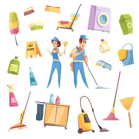 Cleaning service decorative icons set of spray items vacuum cleaner brush broom washing machine employees of cleaning company isolated vector illustration