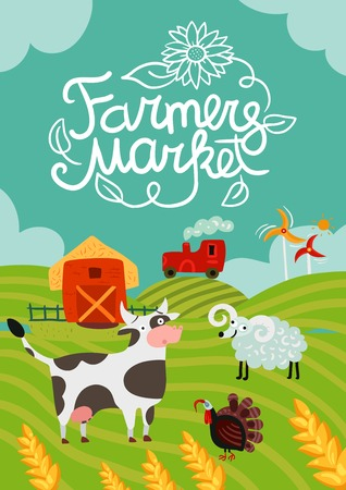 Farmers market poster with calligraphic lettering, tractor and windmills, barn, home animals on fields background vector illustration