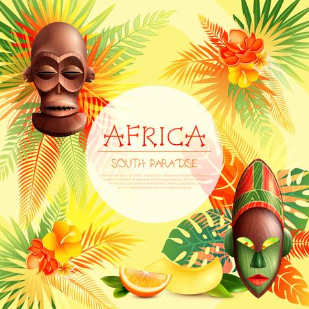 民族のお祭りの組成を持つアフリカのフレームの背景マスク熱帯フルーツのスライスとカラフルな植物画像ベクトル イラスト