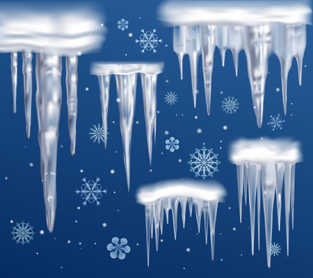 Realistic icicles fragments collection on dark blue snowy winter background with abstract drawn snowflakes vector illustration Vettoriali