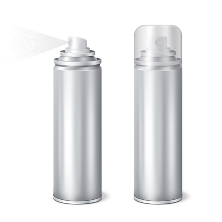 Aluminium aerosol 2 shining realistic mockup cans templates set with cap on and removed spraying vector illustration