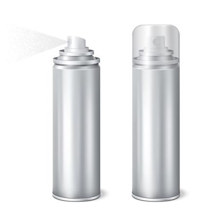 El aerosol de aluminio 2 plantillas de latas de la maqueta realista brillantes fijó con el casquillo encendido y quitó la ilustración del vector de rociadura