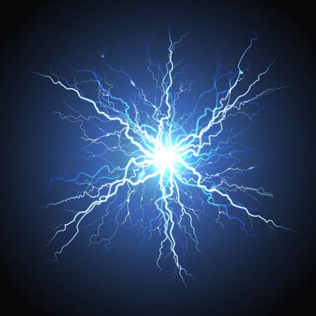 Electric lightning bright luminous starburst atmosphere phenomenon on night sky blue decorative background realistic image Ilustração