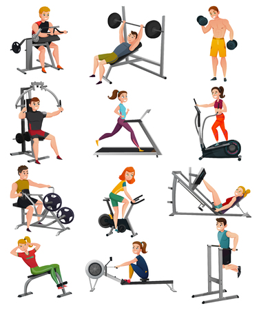 Set of exercise equipment with people including treadmill, bench press, elliptical trainer, gym bike 向量圖像