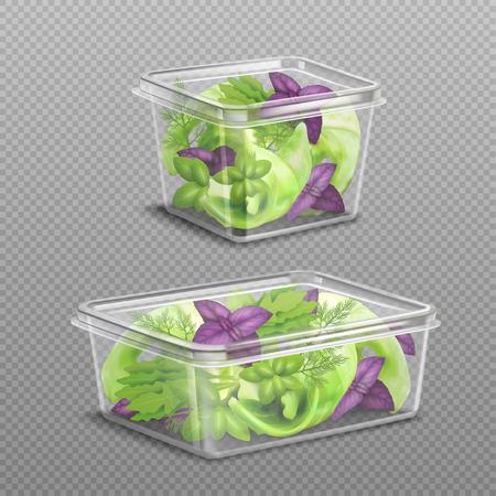 Frischer grüner und purpurroter Salat verlässt in 2 Plastiklebensmittel-Speicherbehältern auf dem transparenten realistischen Hintergrund Standard-Bild - 88462813