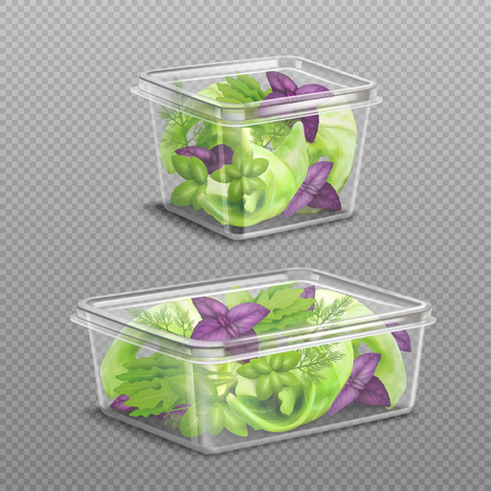 Fresh green and purple salad leaves in 2 plastic food storage containers on transparent background realistic