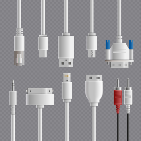 Realistic cable connectors types transparent set with images of computer and multimedia connectors on transparent background