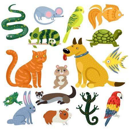 Huisdieren set van kleurrijke pictogrammen met kat en hond, vissen, knaagdieren, papegaaien en reptielen. Stock Illustratie