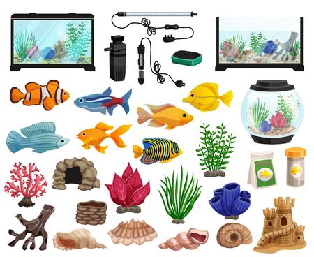 Aquaristics cartoon set with aquarium fishes corals stones seaweeds seashells and aquarium tanks of different shapes.