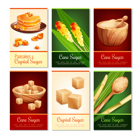 Set of vertical cards with cane sugar in various shape, green leaves, wooden dishware.