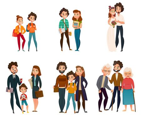 Etapy rozwoju rodziny: para w dzieciństwie, podczas ślubu, rodzicielstwa, starości.