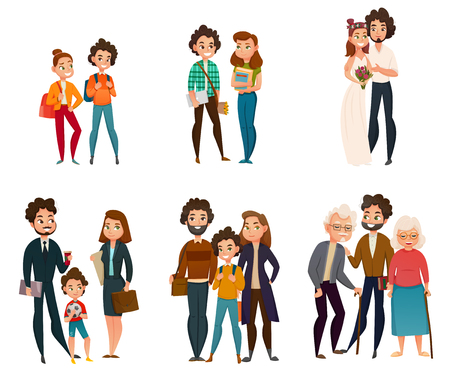 Scènes de développement familial, y compris le couple dans l'enfance, pendant le mariage, la parentalité, la vieillesse.