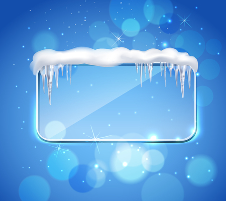Rectangular glass pane frame with rounded corners and icicles on top realistic image blue bubbles background.