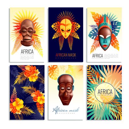 Collection de cartes de masques africains de six compositions verticales avec des formes de feuilles dégradées et des légendes de texte décoratif. Banque d'images - 88462825