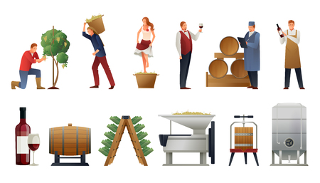 Wine production gradient set with people and bottles flat. Illustration