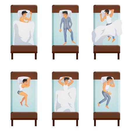 Bovenaanzicht van eenpersoonsbed met slapende mannen in verschillende poses decoratieve pictogrammen.