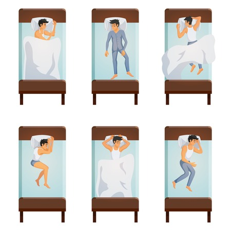 Top view of single bed with sleeping men in different poses decorative icons.