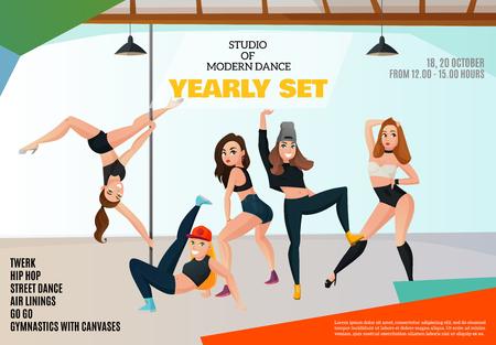 밝은 배경에 다양한 위치에 여자와 현대 춤 유형 광고 포스터의 스튜디오 일러스트