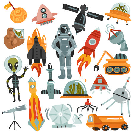 Space set of hand drawn icons with rockets and robots, satellites, astronaut and alien isolated vector illustration Illustration
