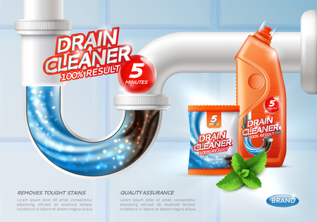 Drain cleaner poster ad with conceptual image of flush tough stains being washed away and product package vector illustration