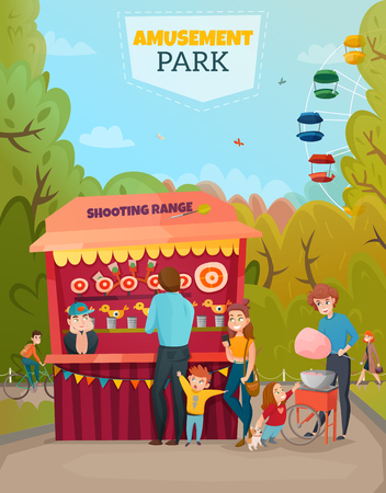 Amusement park illustration of family with two little children near shooting range tent cartoon vector Illustration
