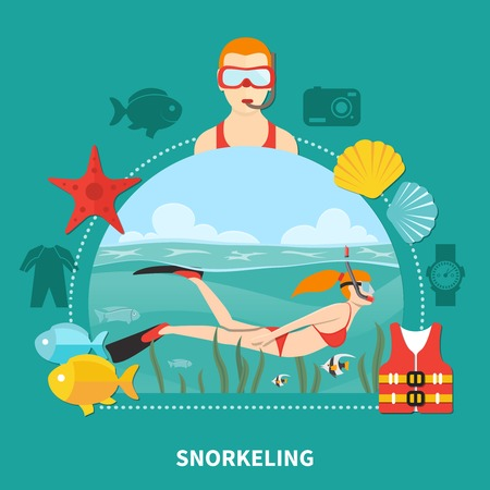 Snorkeling composition with woman swimming with mask, tube and fins between seaweeds on turquoise background vector illustration