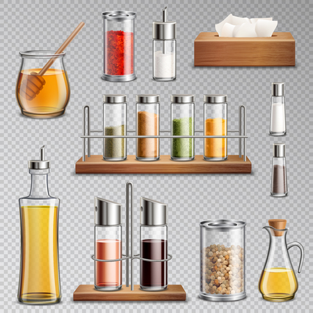 Seasoning spices herbs kitchen racks cooking oil carafe  sugar dispenser and honey jar realistic set transparent vector illustration