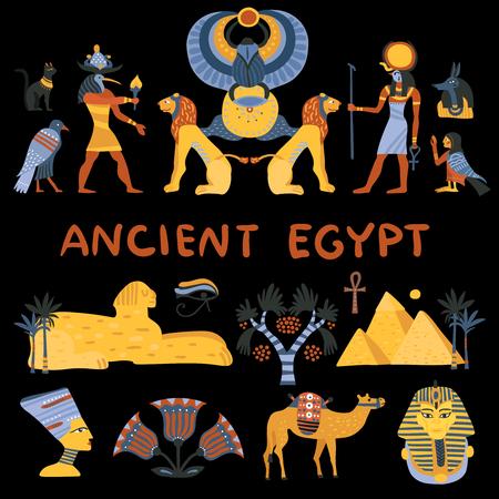 De oude reeks van Egypte decoratieve die pictogrammen op zwarte achtergrond met de vectorillustratie van godsdienstige en toeristensymbolen wordt geïsoleerd