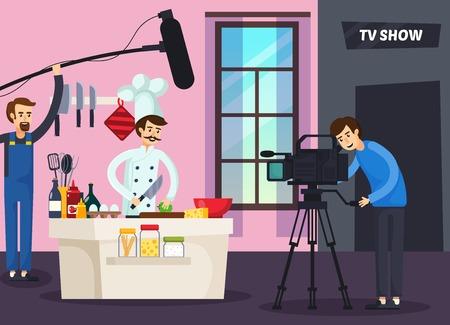 요리 tv 쇼 음식, cameraman 및 사운드 남자 스튜디오 벡터 일러스트 레이 션에서 요리사와 직교 컴포지션을 보여줍니다. 일러스트