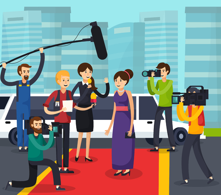 Orthogonal composition with reporters, cameramen and photographers near celebrity on red carpet on city background vector illustration Иллюстрация
