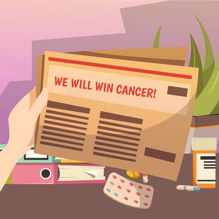Winning against cancer strategic programm orthogonal composition with plan steps papers in hand and pils vector illustration Reklamní fotografie - 88463016
