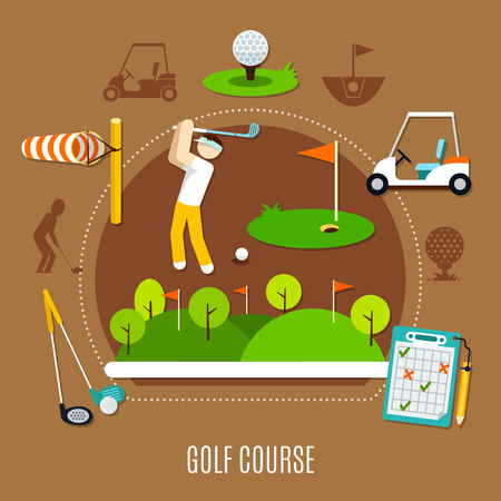 Golf course composition with player in swing stance, game field with flags on brown background vector illustration