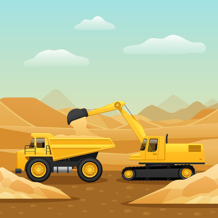 Construction machinery for ground works composition with excavator loading dumper truck with sand flat vector illustration Illustration