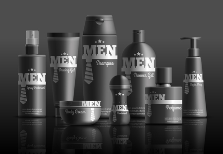 Mens cosmetic series in black containers with brand identity realistic composition on dark background vector illustration
