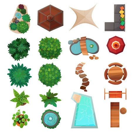 Ensemble d'éléments de design paysage vue de dessus avec des plantes vertes, piscine, parapluies, illustration vectorielle de trottoir isolé Vecteurs