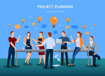 Conceito de planejamento de projeto com reunião de conferência de inicialização e ilustração de símbolos de brainstorming Foto de archivo - 88462861