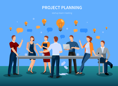 Project planning concept with startup conference meeting and brainstorming symbols illustration