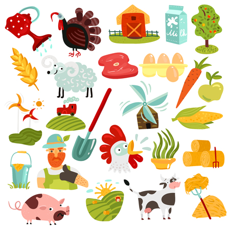 Set of farm elements with green fields and hay, harvest, animals, windmills, fresh products isolated vector illustration