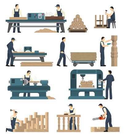 Carpentry factory set of isolated image compositions with woodworking machinery and human characters attending to machines vector illustration Illustration