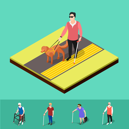invalid: Isometric blind people background with human characters of partially sighted people walking on corduroy tactile paving vector illustration